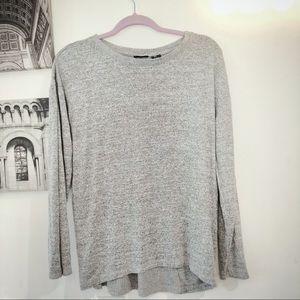 Tahari grey drape sweater